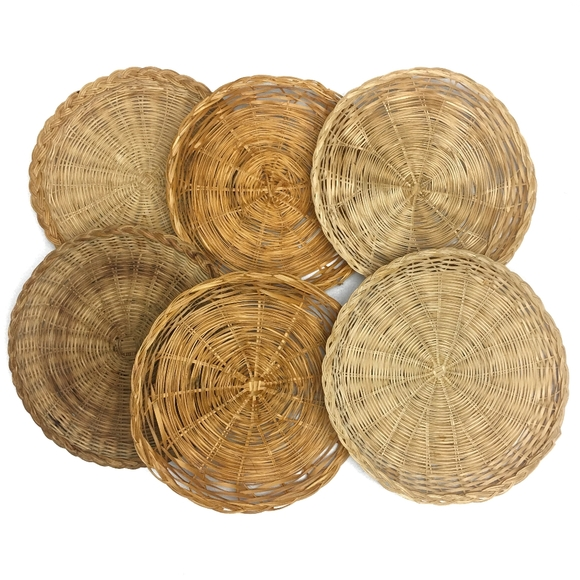VINTAGE Woven Wicker Boho Baskets (Set of 6)